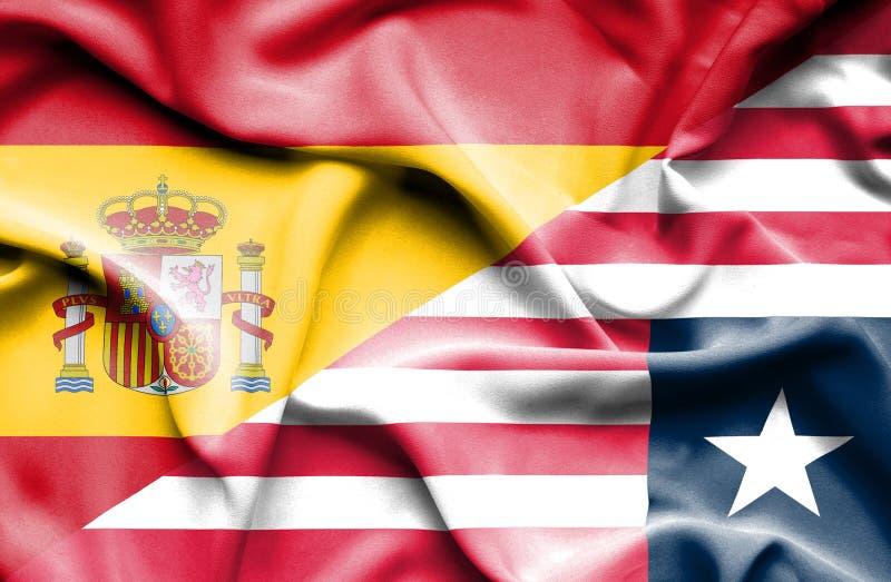利比里亚和西班牙的挥动的旗子 库存例证