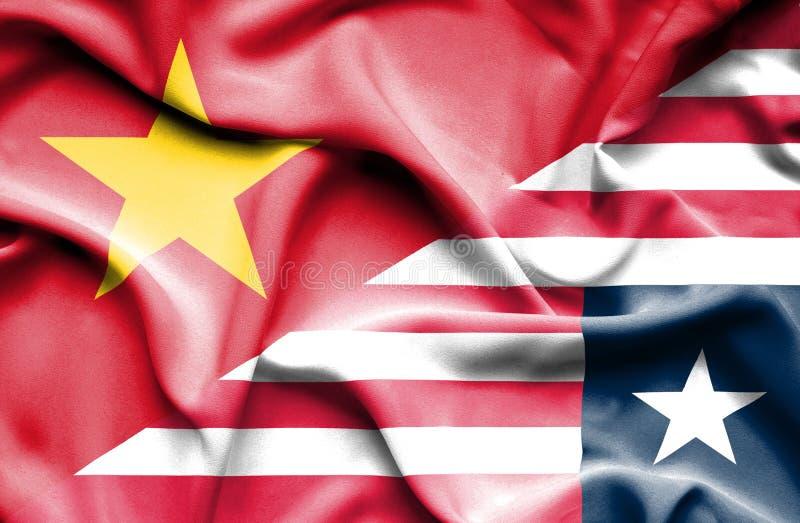 利比里亚和越南的挥动的旗子 库存例证