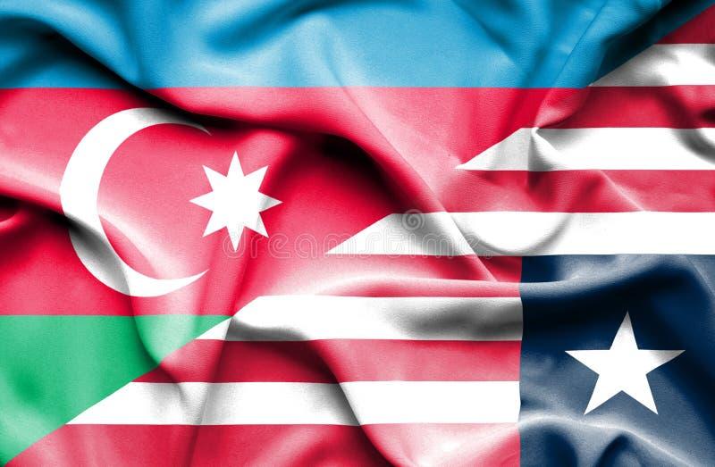利比里亚和阿塞拜疆的挥动的旗子 库存例证