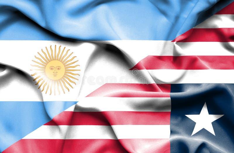 利比里亚和阿根廷的挥动的旗子 向量例证