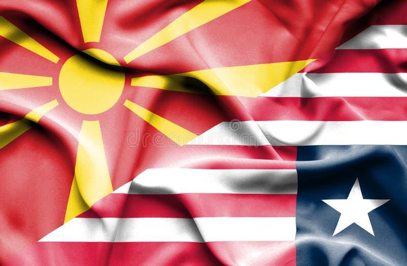 利比里亚和马其顿的挥动的旗子 皇族释放例证