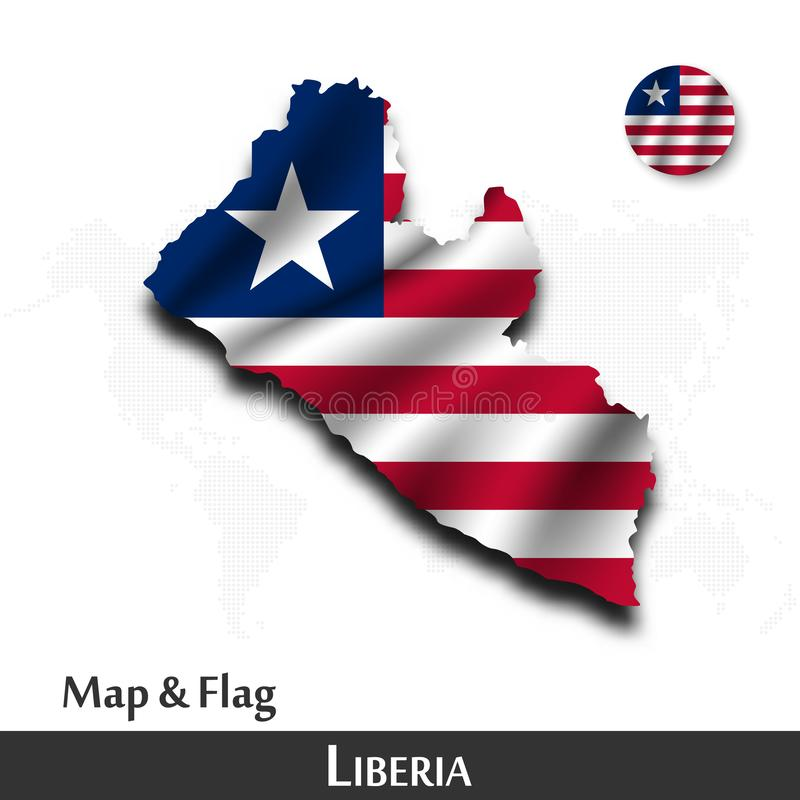 利比里亚地图和旗子 挥动的纺织品设计 小点世界地图背景 ?? 向量例证