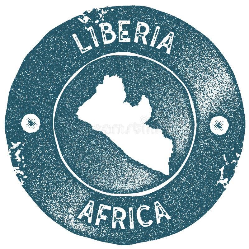 利比里亚地图葡萄酒邮票 向量例证