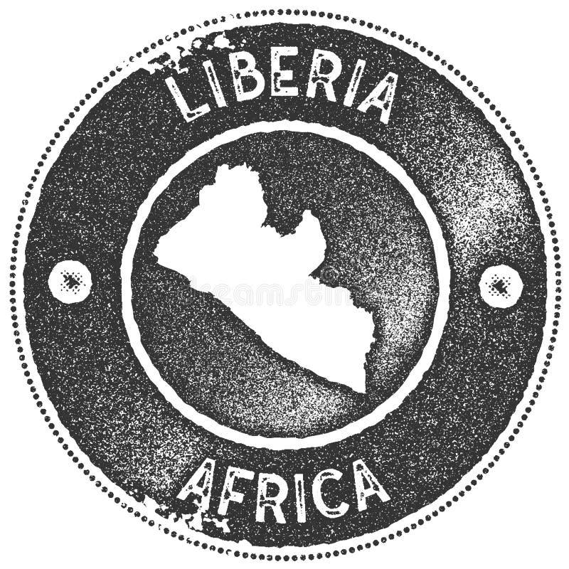 利比里亚地图葡萄酒邮票 库存例证