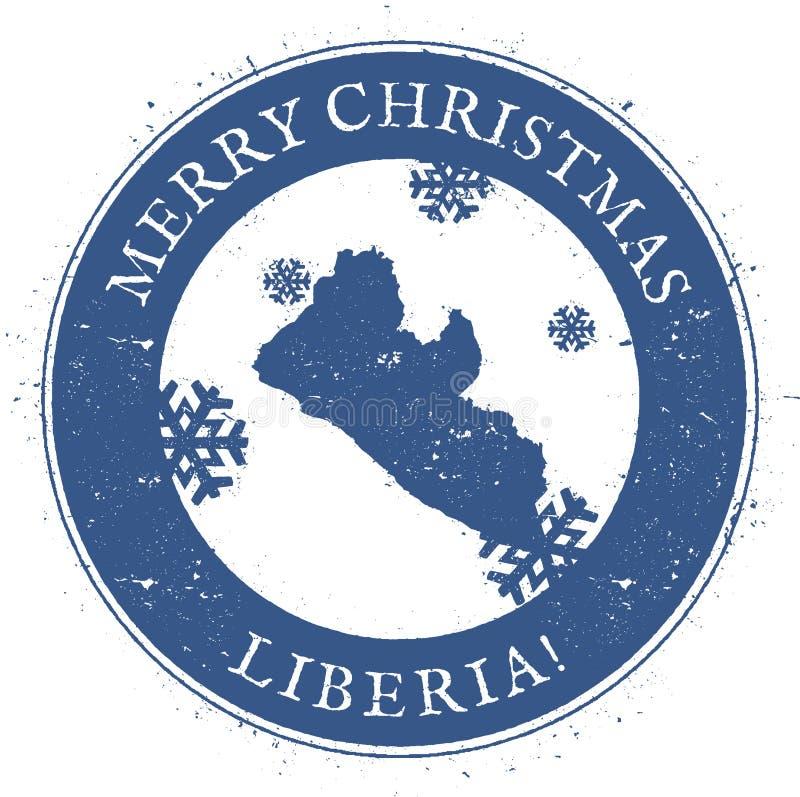 利比里亚地图 葡萄酒圣诞快乐利比里亚 库存例证
