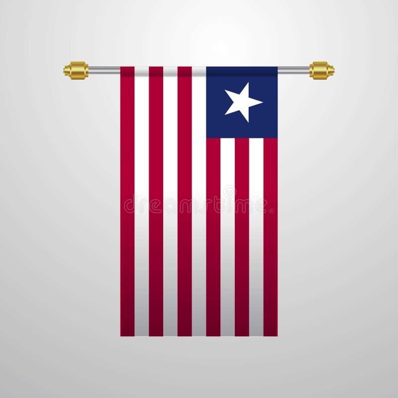 利比里亚垂悬的旗子 库存例证