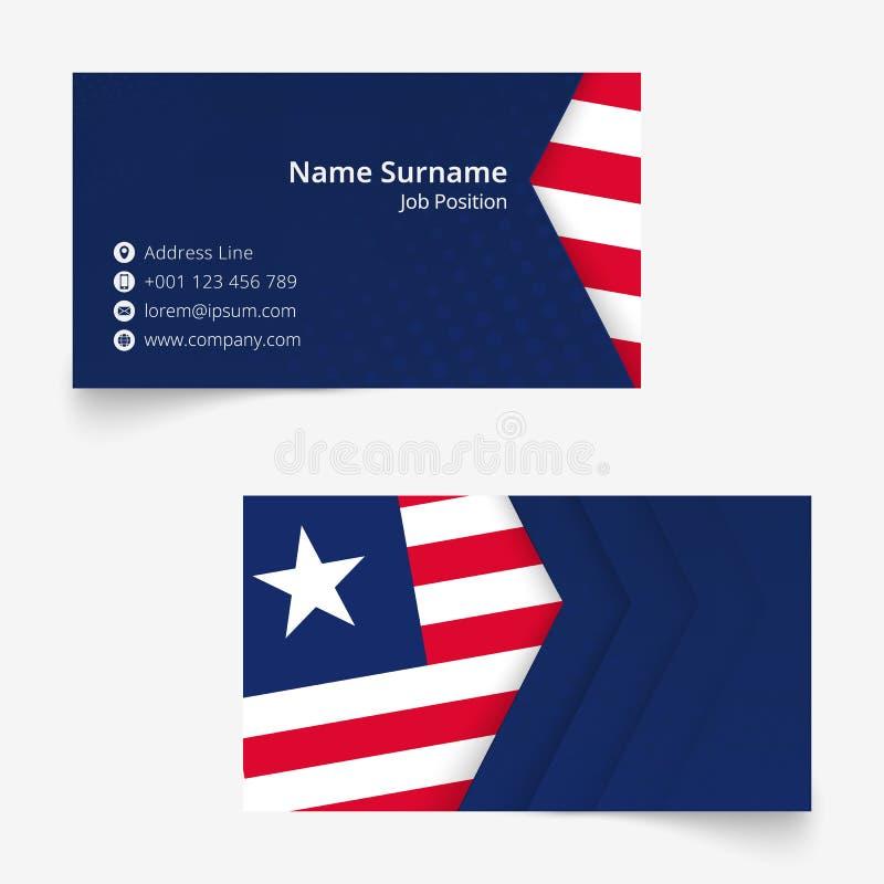 利比里亚旗子名片,标准尺寸90x50 mm名片模板 库存例证