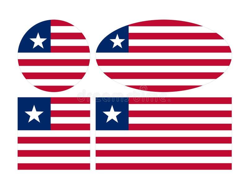 利比里亚旗子-利比亚共和国 向量例证