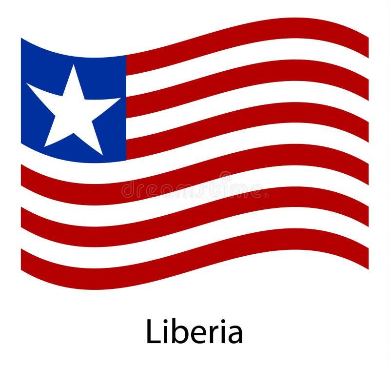利比里亚旗子 利比里亚的被隔绝的国旗 利比里亚共和国的挥动的旗子 库存例证