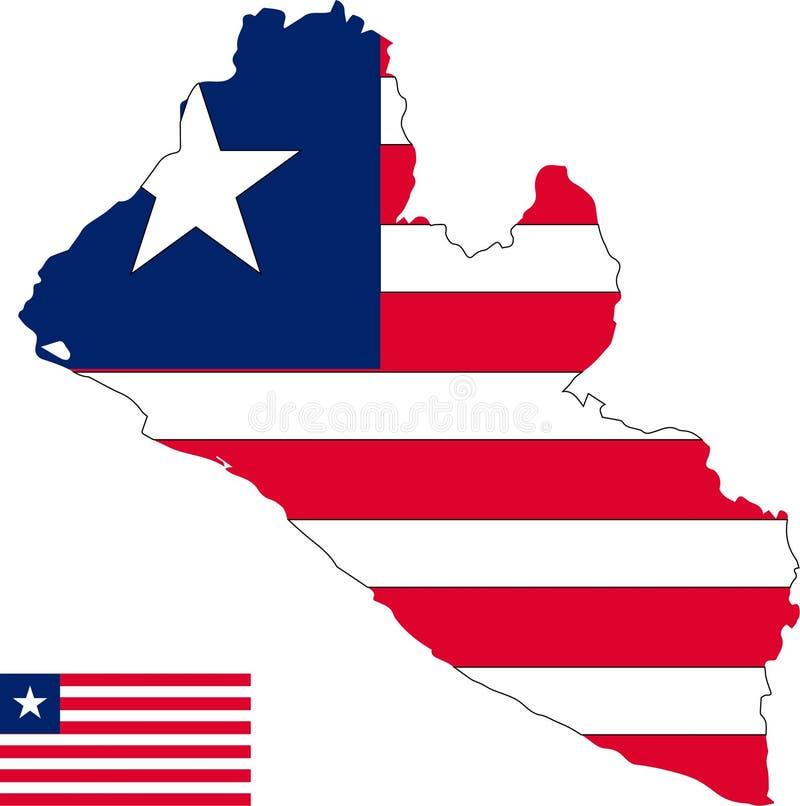 利比里亚的传染媒介地图有旗子的 被隔绝的,白色背景 向量例证