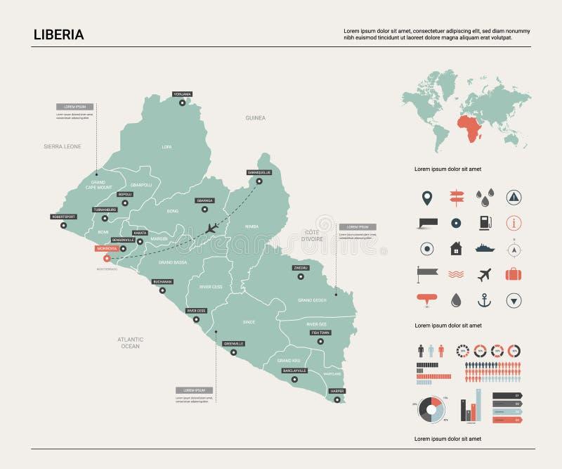 利比里亚的传染媒介地图 与分裂、城市和首都蒙罗维亚的高详细的国家地图 E 皇族释放例证