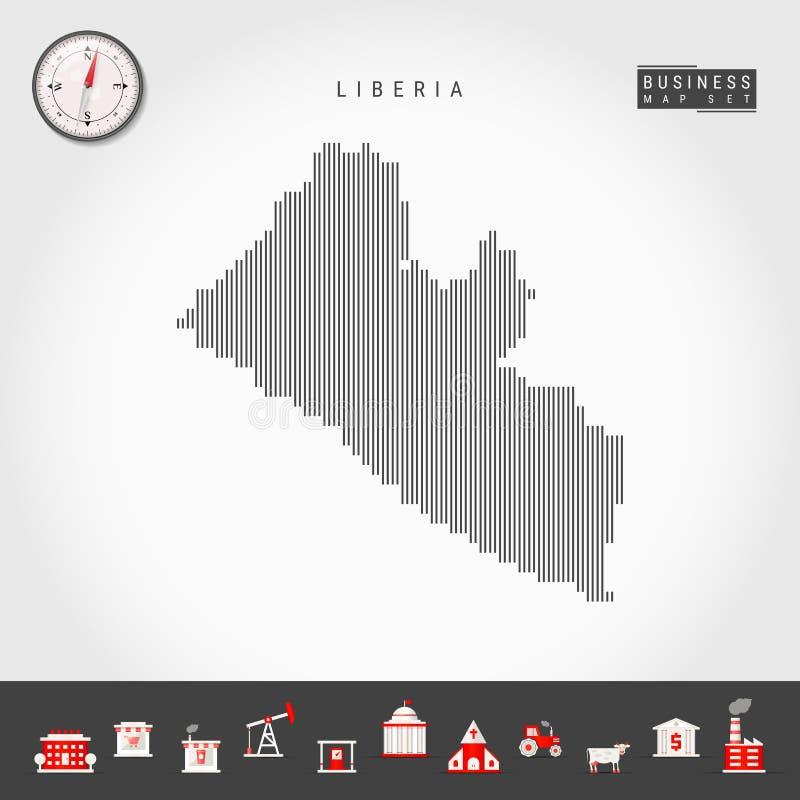 利比里亚的传染媒介垂直线地图 利比里亚的镶边剪影 现实指南针 r 库存例证