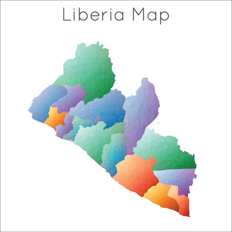 利比里亚的低多地图 库存例证