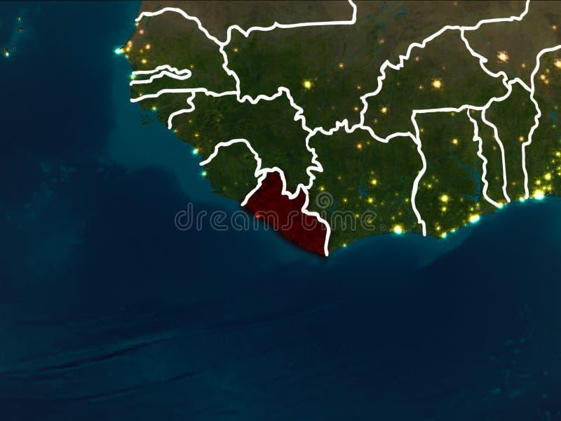 利比里亚的地图在晚上 皇族释放例证