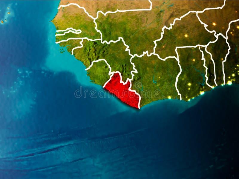 利比里亚的地图地球上的 向量例证
