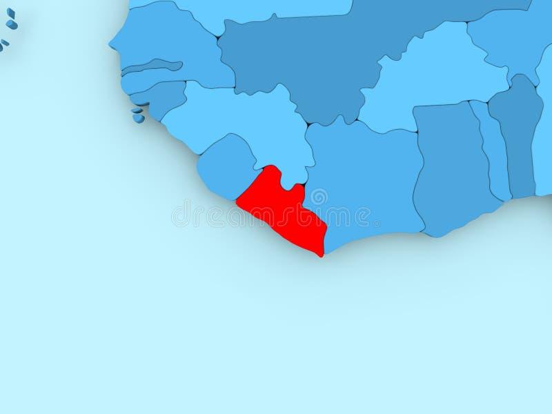 利比里亚的地图 库存例证