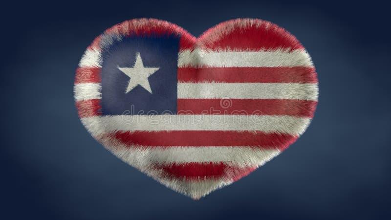 利比里亚的旗子的心脏 向量例证