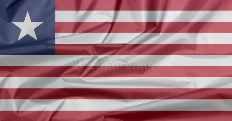 利比里亚的织品旗子 利比里亚旗子背景折痕  免版税库存图片