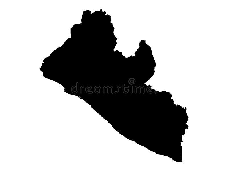 利比里亚的黑地图 库存例证