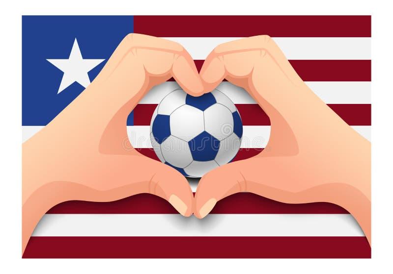 利比里亚足球和手心形 库存例证
