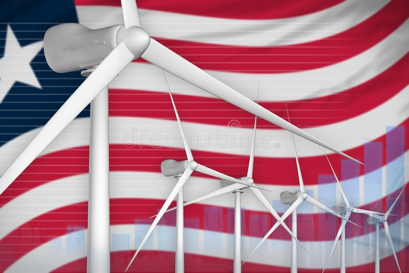 利比里亚风能力量数字图表概念-供选择的自然能工业例证 3d?? 向量例证