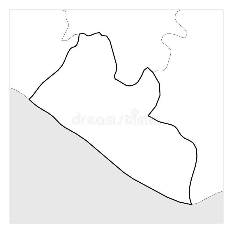 利比里亚黑色厚实的概述地图突出了与附近国家 库存例证