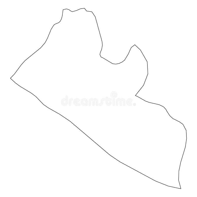 利比里亚-国家区域坚实黑概述边界地图  简单的平的传染媒介例证 皇族释放例证