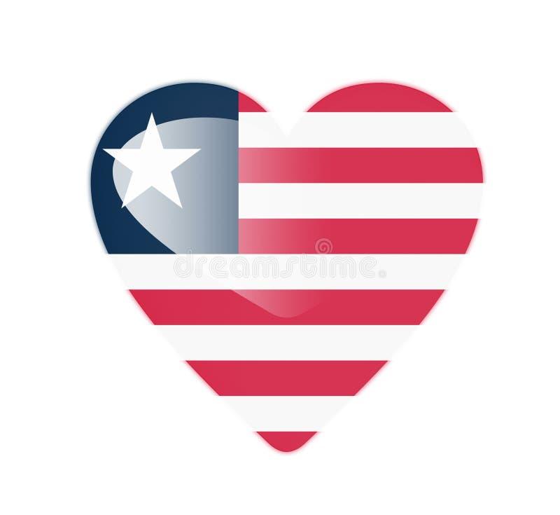 利比里亚3D心形的旗子 库存例证
