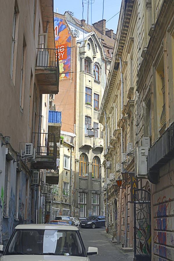 利沃夫历史狭窄街道 免版税库存图片