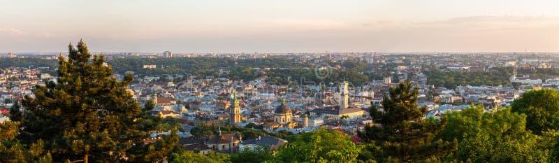 利沃夫州,乌克兰全景鸟瞰图  库存照片