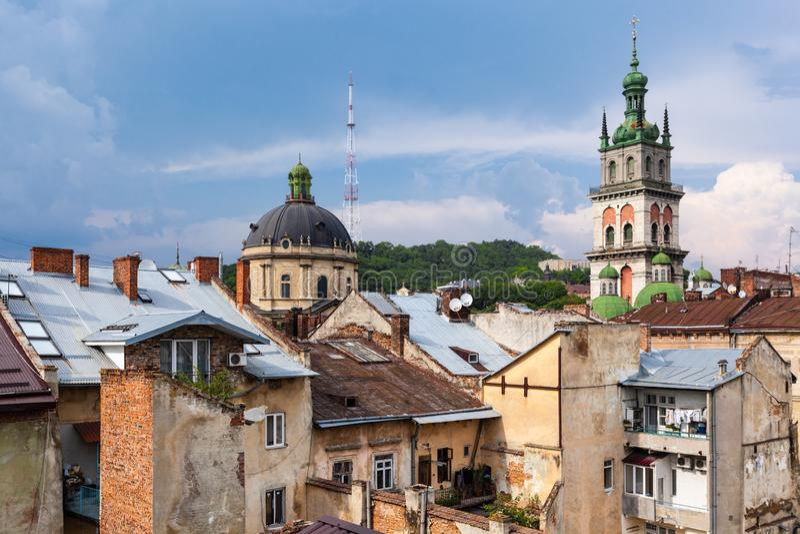 利沃夫州,乌克兰的历史市中心的美丽的景色 免版税图库摄影