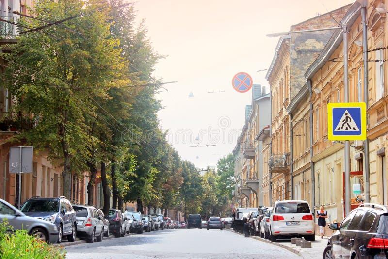 利沃夫州,乌克兰- 2018年8月25日:街道在古城利沃夫州 库存照片