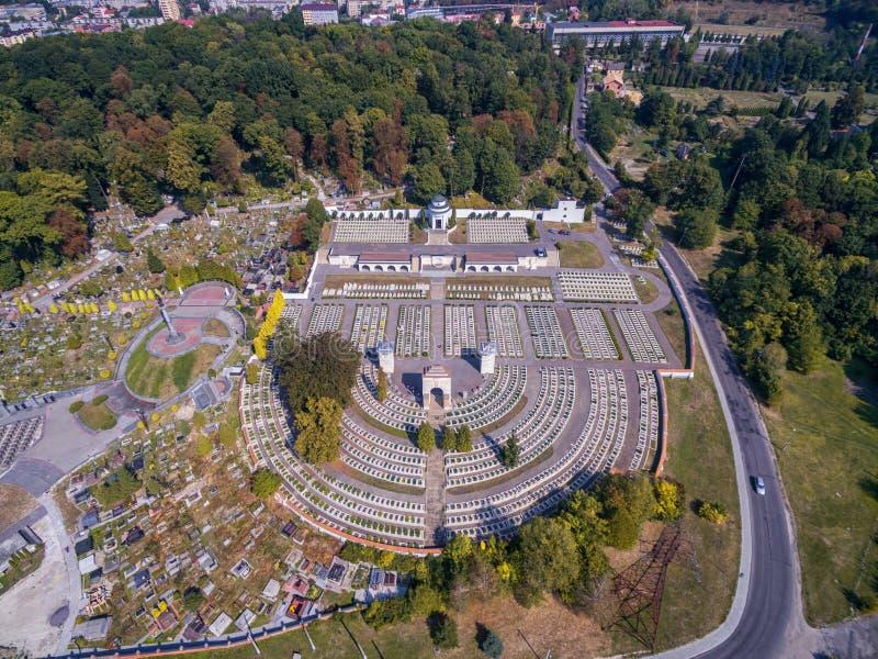 利沃夫州,乌克兰- 2016年9月11日:利沃夫州Lychakiv公墓和波兰人Orlat公墓 库存图片