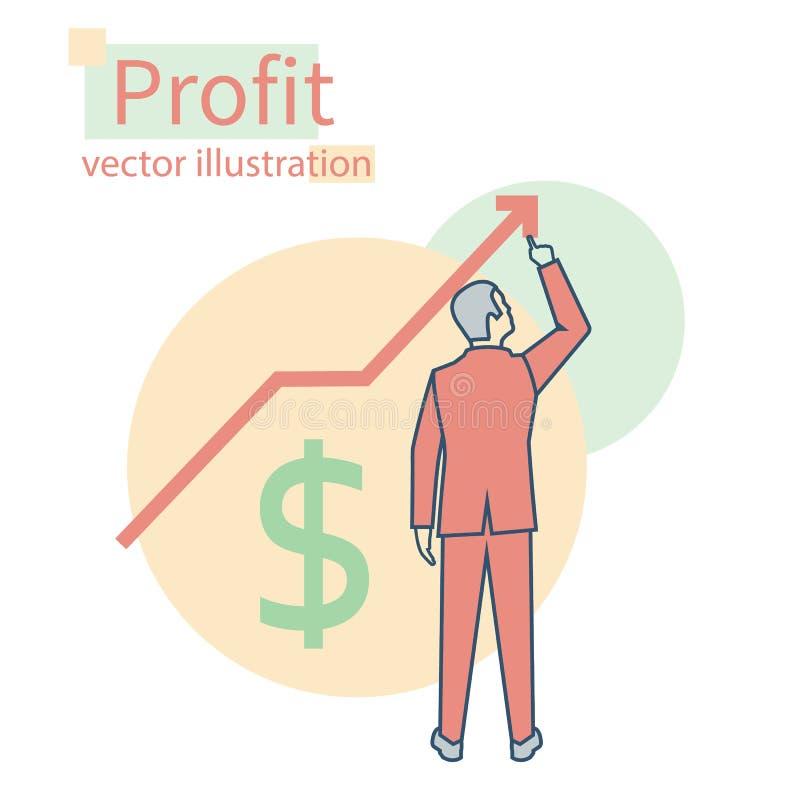 利润增长 到达天空的企业概念金黄回归键所有权 向量 向量例证