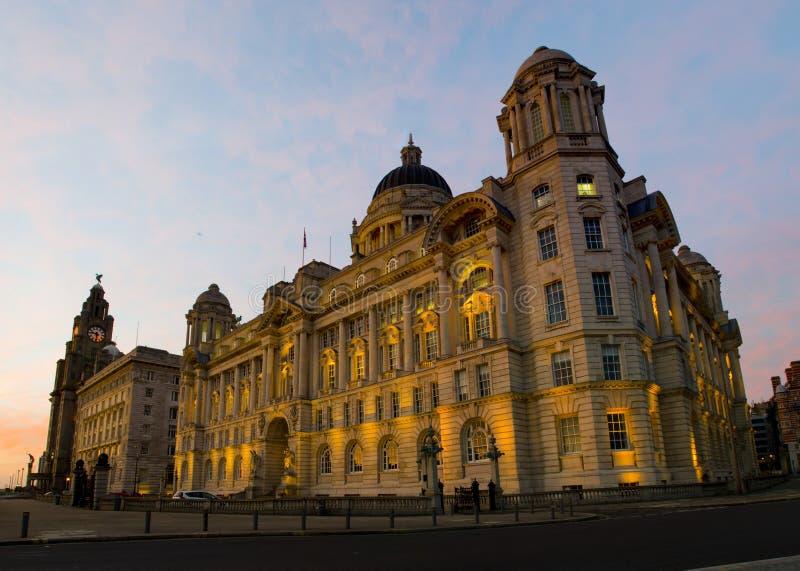 利物浦大厦口岸在利物浦江边的 免版税库存照片