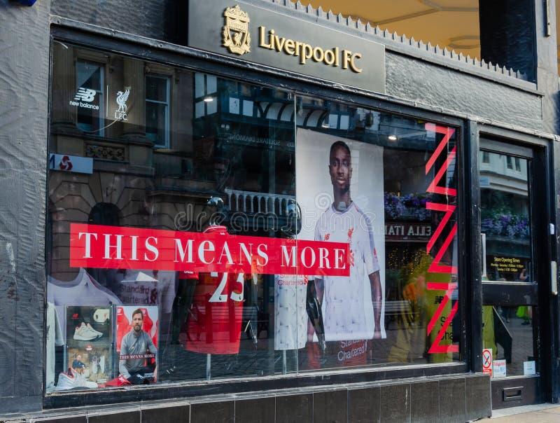 利物浦橄榄球俱乐部零售店在彻斯特 库存照片