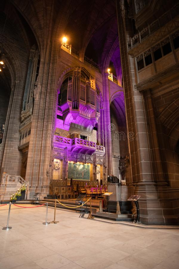 利物浦英国国教大教堂内部风琴台 库存照片
