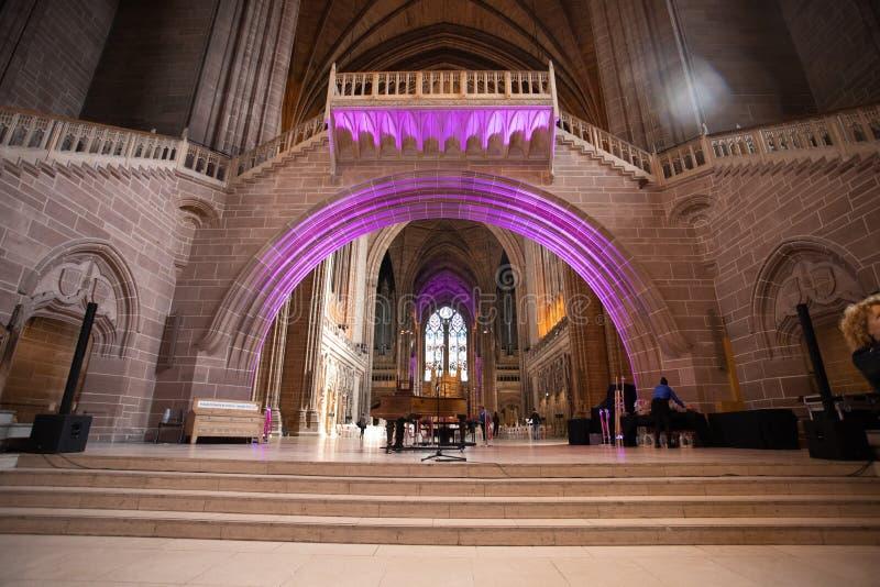 利物浦英国国教大教堂内部 免版税库存图片