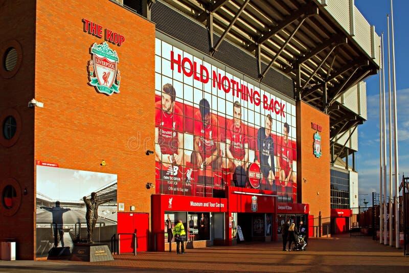 利物浦英国2016年1月8日 Kop入口向利物浦Foo 库存图片