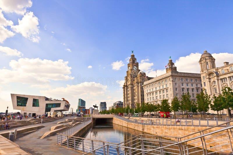利物浦,英国都市风景  库存照片