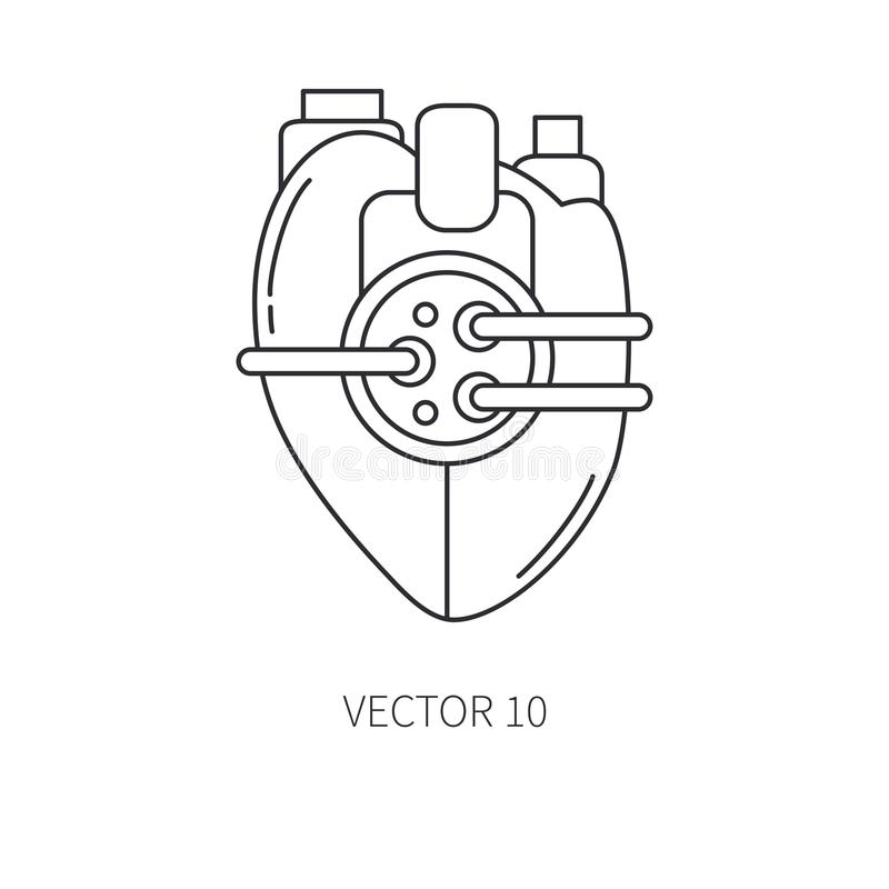 利用仿生学的心脏假肢线象 利用仿生学的假肢 生物工艺学未来派医学 将来的技术 医疗 皇族释放例证