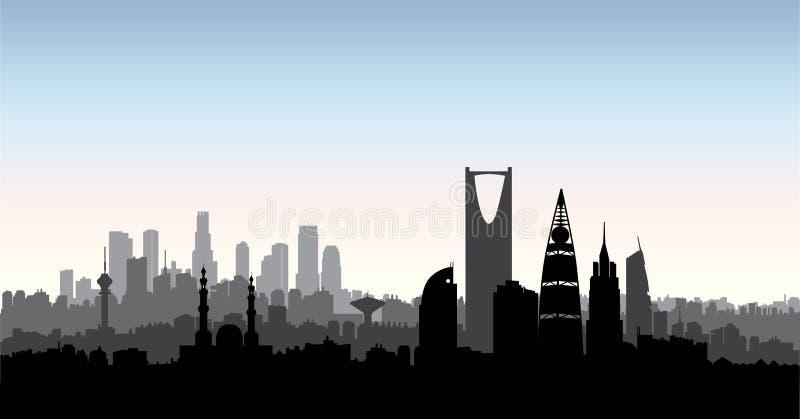 利雅得市地平线 都市风景剪影有地标背景 库存例证