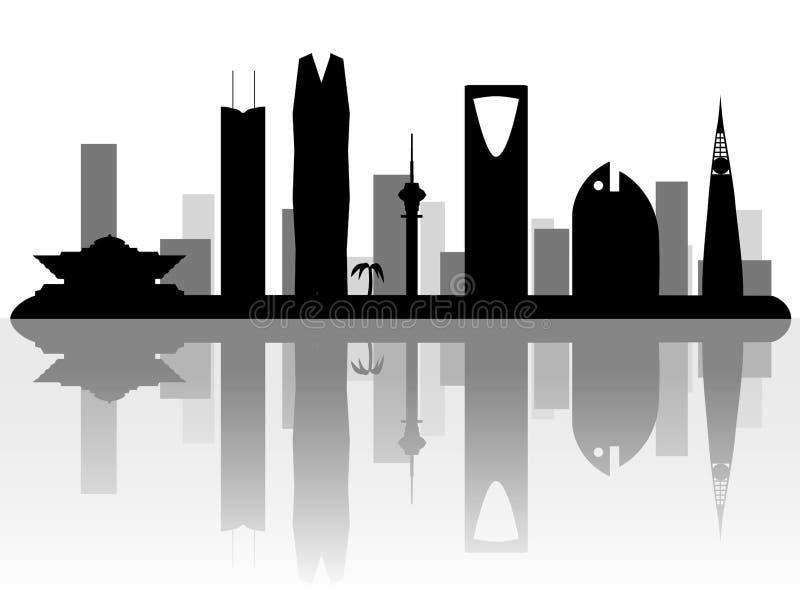 利雅得沙特阿拉伯地平线剪影 库存例证