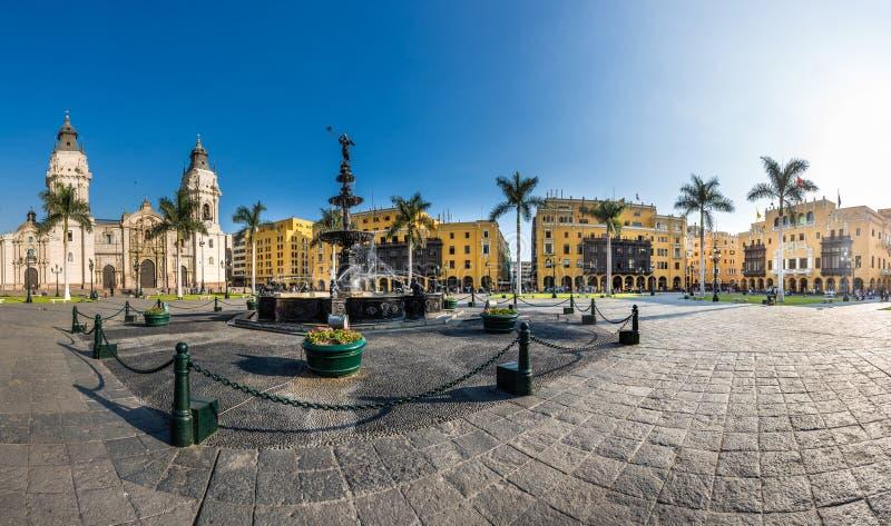 利马市大广场在秘鲁 免版税图库摄影
