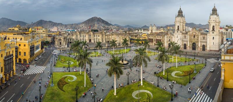 利马市大广场在秘鲁 免版税库存图片