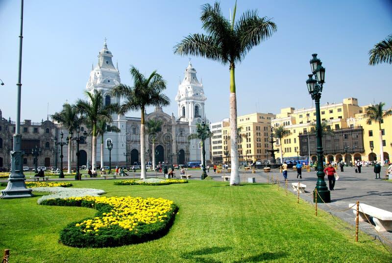 利马秘鲁市长广场 免版税库存图片
