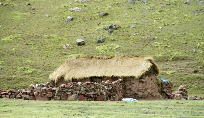 玻利维亚山的农厂房子 免版税库存照片