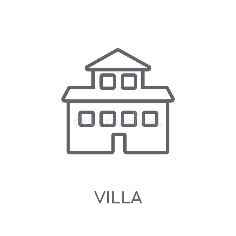 别墅线性象 在白色ba的现代概述别墅商标概念 库存例证