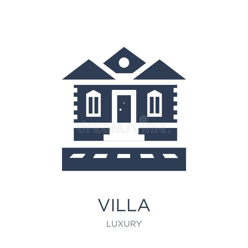 别墅象 在白色背景fr的时髦平的传染媒介别墅象 库存例证
