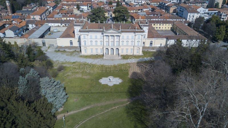 别墅Cusani Tittoni Traversi、全景、鸟瞰图、Desio、蒙扎和Brianza,意大利 库存图片